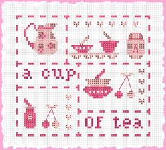 Miniature tea theme  multi functional craft pattern use for: cross stitch chart or cross stitch pattern, crochet pattern, knitting, knotting pattern, beading pattern, weaving and tapestry design, pixel art, micro macrame, friendship bracelets, and other crafting projects.
