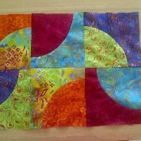 Quilting: placemat curved, Playing with Curves