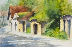 Lydia Leydolf: Kellergasse in Wolkersdorf Illustration Art, Watercolor, Landscape, Austria, Gardens, Painting, Homes, Watercolor Paintings, Day Planners