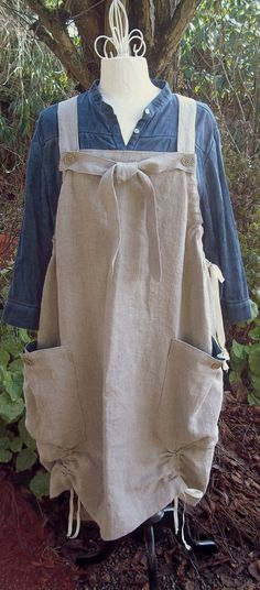Natural Rustic Linen Market Jumper with Big Pockets by muircourt