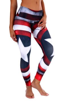 America leggings CrossFit Yoga Supplex Spandex Workout Pants USA Captain America