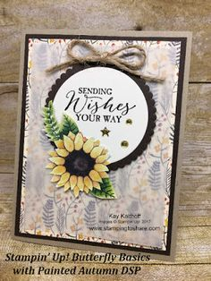 Stampin\' Up! Painted Autumn Designer SEries Paper with Butterfly Basics for a gorgeous fall card. Created by Kay Kalthoff at #stampingtoshare