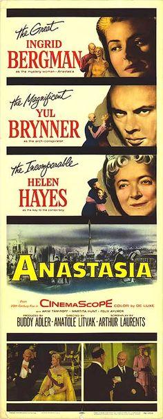 Movie poster for Anastasia starring Ingrid Bergman and Yul Brynner, 1956