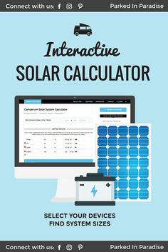 This interactive campervan solar panel calculator is a must save for anyone who wants to build a campervan conversion for Just put in your el. Solar Panels For Home, Best Solar Panels, Solar Panel Calculator, Solar Panel Inverter, Solar Camping, Camping Lights, Camping Gear, Solar Roof, Solar Projects