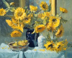 kevin macpherson   Kevin Macpherson Painting of Golden Flowers on Table, Still Life