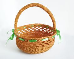 Easter basket crochet easter bunny basket nursery kids room storage this crocheted basket will decorate your house and create an easter holiday atmosphere basket with negle Gallery
