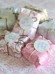 Re-packaging Guest Bath Soaps, love this idea, makes it look special for the person using the soap, and wouldn't be a good idea as stocking stuffers for the women in your family....