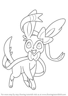Learn How to Draw Sylveon from Pokemon (Pokemon) Step by Step : Drawing Tutorial… - therezepte sites Pixel Pokemon, Eevee Pokemon, Pokemon Sketch, Pokemon Coloring Pages, Cute Coloring Pages, Adult Coloring Pages, Coloring Books, Ninjago Images, Cool Pokemon Cards