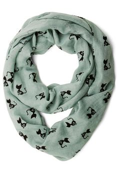 Cat Person Scarf. Its felines for you, all the way - this mint, cat-print scarf shows your affection for your favorite four-legged friends! #mintNaN