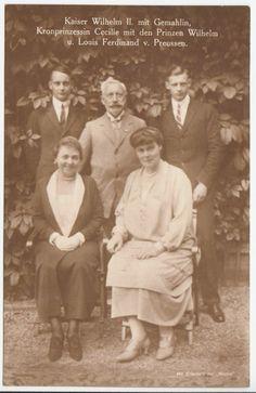 Kaiser Wilhelm II, Empress Hermine & Crown Princess w. sons in Doorn – RARE pcd