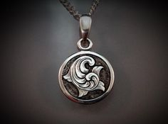 Hand Engraved Art Nouveau Inspired Sterling Silver Elegant English Scrollwork Necklace Picture Engraving, Metal Engraving, Jewelry Crafts, Jewelry Art, Art Nouveau, Bird Sculpture, Silver Lockets, Handcrafted Jewelry, How To Draw Hands