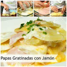 Receta de Papas Gratinadas con Jamón