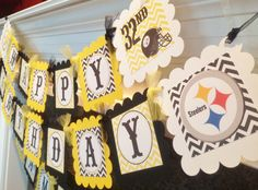 Nfl pittsburgh steelers party supplies party city dads 60th pittsburgh steelers football inspired happy birthday banner yellow black chevron party packs available filmwisefo Gallery