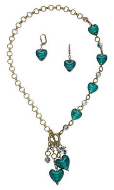 Single-Strand Necklace and Earring Set with Foil-Lined Glass Beads, SWAROVSKI ELEMENTS and Antiqued Gold-Plated Brass Chain