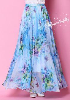 Blue Flowers Chiffon Skirt Long Maxi Sundress by CHARMINGDIY