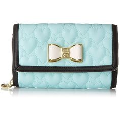 Betsey Johnson Be My Bow On A String BJ43910 Wallet ($53) ❤ liked on Polyvore featuring bags, wallets, purses, strap bag, betsey johnson wallet, string wallet, chain bag and blue bag