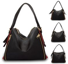 Womens Zipper Faux Leather Shoulder Cross Body Bag Purses Handbags Black   AD034   Unbranded  ShoulderBag. Hi Korean Fashion d647ef15a6488