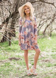 Perfect Floral 3/4 Sleeve Dress Lavender - Modern Vintage Boutique