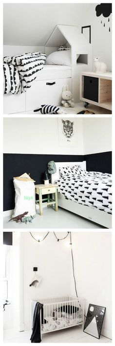 Monochrome children's rooms