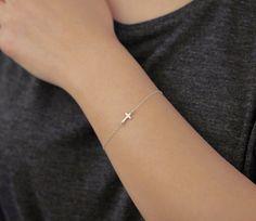 Tiny sideways cross - sterling silver bracelet  - everyday jewelry