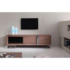 Entertainer Light Walnut/Stainless Steel Modern TV Stand with IR Glass