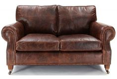 Hepburn | Shabby Chic Vintage Leather Small 2 Seater Sofa