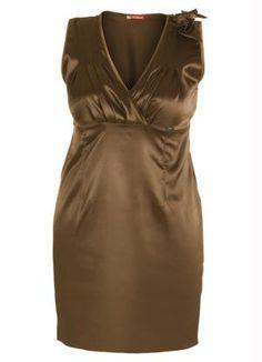 Vestido de Cetim MarromFesta - Posthaus.com.br