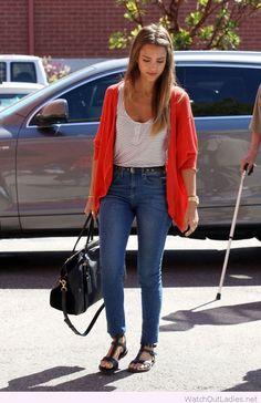 Jeans, tank and orange cardigan