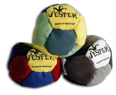 Jester Footbag by The Wright Life. $8.99. Sand filled. Assorted colors. 12 panels. The Jester 12 Panel Footbag is a multi-paneled, professional grade footbag made with the highest quality. They are very loosely filled with sand for maximum playability for doing footbag tricks. Durable imitation suede with a wide variety of panel colors. Sold Separately.