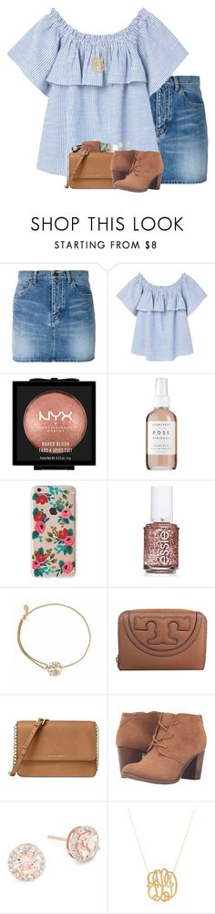"""Boy I like you."" by amberfmillard-1 ❤ liked on Polyvore featuring Yves Saint Laurent, MANGO, NYX, Herbivore, Rifle Paper Co, Essie, Alex and Ani, Tory Burch, Michael Kors and TOMS"