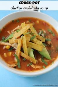 Crockpot  Chicken Enchilada Soup on MyRecipeMagic.com. Let the crockpot do all the work...so easy and delicious! #soup #crockpot #chicken #enchilada