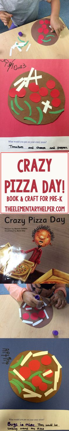 """Time to talk about Pizza! Reading """"Crazy Pizza Day"""" plus pizza craft for pre-k on the blog! From theelementaryhelper.com #theelementaryhelper"""