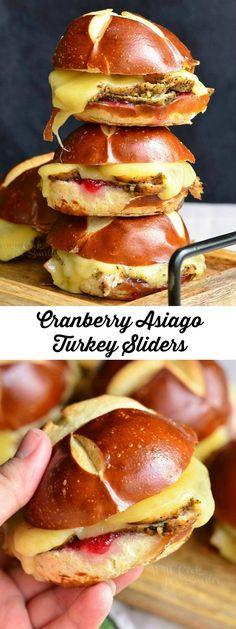 Cranberry Asiago Turkey Sliders   from willcookforsmiles.com #sandwich #turkey
