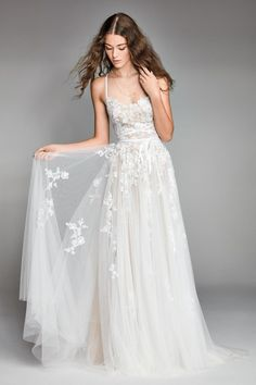 willow by watters spring 2018 sleeveless spaghetti strap semi sweetheart neckline full embellishment romantic soft a line wedding dress cross strap back chapel train mv -- Willowby by Watters Spring 2018 Wedding Dresses Perfect Wedding Dress, Dream Wedding Dresses, Bridal Dresses, Wedding Gowns, Delicate Wedding Dress, Colored Wedding Dress, Bridal Gown Styles, Bridesmaid Dresses, Tulle Wedding