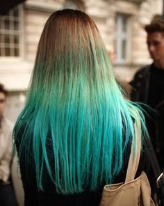 Blonde-blue ombre hair.