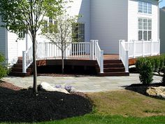 Deck and Paver Combinations | Flagstone Natural Cut Pa Bluestone Patio with an Ipe deck and white ...