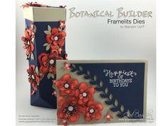 Stampin Up birthday card & box using Botanical Blooms/builder die bundle & Birthday Blooms Stamps By Gail