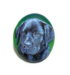Black Labrador Pet Portrait Painting on Flat Pebble by RockArtAttack!