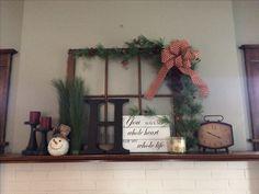 Old window, wooden letter, clock, snowman, simple Mantle decor
