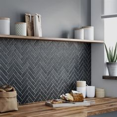 Modern Kitchen Design – Want to refurbish or redo your kitchen? As part of a modern kitchen renovation or remodeling, know that there are a . Herringbone Tile, Herringbone Fireplace, Tiled Fireplace, Fireplace Kitchen, Küchen Design, Design Ideas, Interior Design, Stone Interior, Villa Design
