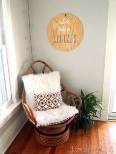 Mid Century Modern Swivel Rattan Wicker Egg Chair Vintage Retro Home
