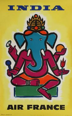 India Air France Hindu Lord Ganesha Vintage Airline Travel Poster by Jean Carlu by Retro Graphics
