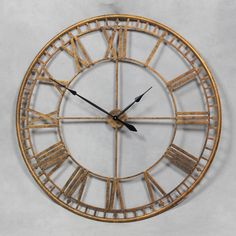 extra large antique gold metal round skeleton wall clock 120 cm diameter new