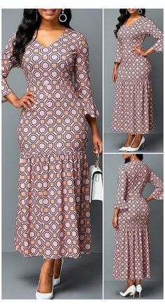 Latest African Fashion Dresses, African Dresses For Women, African Attire, Ankara Maxi Dress, Flare, Pretty Dresses, Beautiful Dresses, Hot, Casual