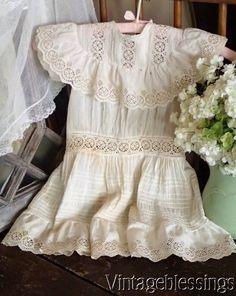Antique Edwardian Pintucks & Eyelet Childs' Dress Authentic Aged Patina