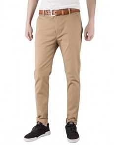 Italy Morn Men Chino Pants Khaki Slim Fit Stretch Cotton Twill Fabric Trousers Khaki