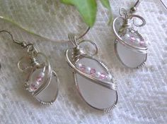 White Frosted Lake Erie Beach Glass Wire Wrapped Earrings with Pink Crystals
