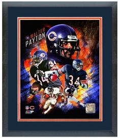 """Walter Payton """"2013 Portrait Pluses Photo Montage""""-11"""" x 14"""" Framed & Matted"""