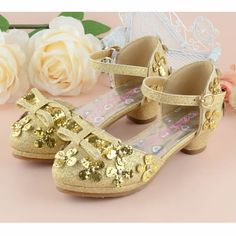 Gold Sequin High Heel Flower Pageant Girl Girls Holiday Party Shoes SKU-133591