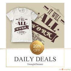 Today Only! 20% OFF this item.  Follow us on Pinterest to be the first to see our exciting Daily Deals. Today's Product: It Will All Work Out t-shirt Buy now: https://www.etsy.com/listing/496417852?utm_source=Pinterest&utm_medium=Orangetwig_Marketing&utm_campaign=Deal%20of%20the%20Day   #etsy #etsyseller #etsyshop #etsylove #etsyfinds #etsygifts #musthave #loveit #instacool #shop #shopping #onlineshopping #instashop #instagood #instafollow #photooftheday #picoftheday #love #OTstores…